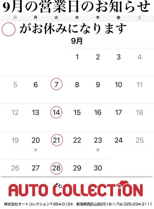 9月営業日のお知らせ!(^^)!